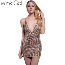 Wink Gal Sequined Women Party Dresses Sexy Backless Sheath Club Dresses Prom Gold Sequin Summer Style Sleeveless Ladies Dress