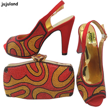 Latest Red Color Italian Shoes with Matching Bag Set Decorated with Rhinestone African Lady Shoes and Bag Set for Party In Women(China)
