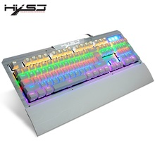 HXSJ 2600 USB Wired Humanization Mechanical Keyboard Blue Axis With Detachable Holder For Gamers RGB Backlight 104 Keys