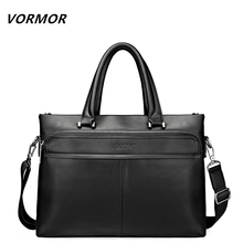 VORMOR New 2017 Men Leather soft Handbag  Business Briefcase Men's Top Handle Fashion Daily Carry Tote Shoulder Man Bag