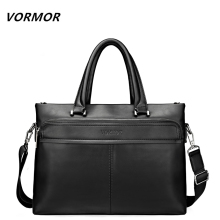 VORMOR New 2017 Men Leather soft Handbag Business Briefcase Men's Top Handle Fashion Daily Carry Tote Shoulder Man Bag(China)