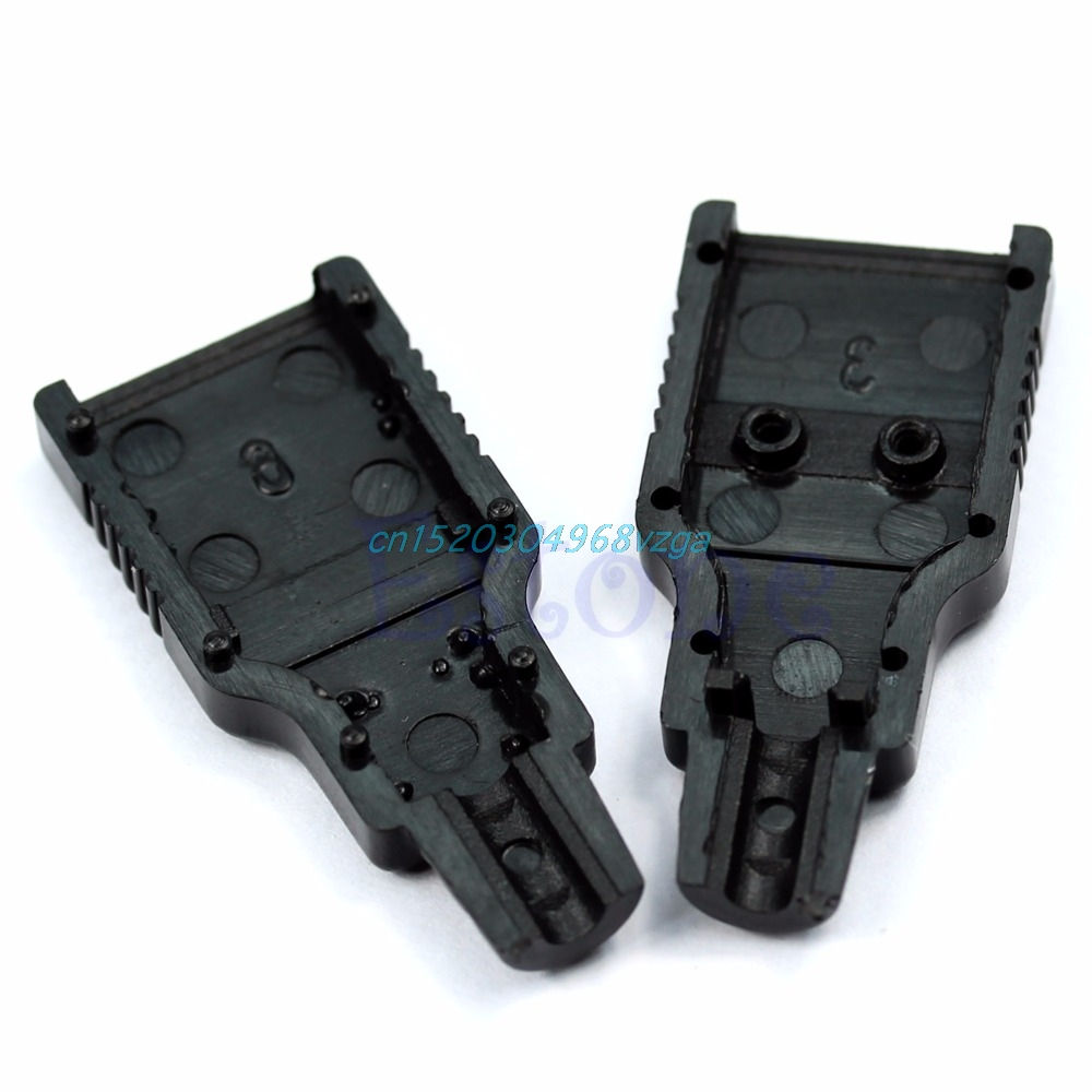 Type A Male USB 4 Pin Plug Socket Connector With Black Plastic Cover 10pcs #H028#