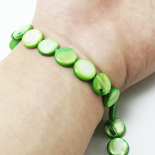 2015 New Arrival 11mm Flat Round shape Natural freshwater Shell Beads Grass Green MOP Beads for Jewelry & DIY Craft BTA043-03PD