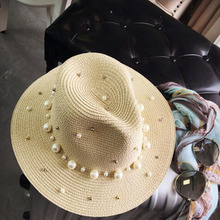 2017 New Summer British pearl beading flat brimmed straw hat Shading sun hat Lady beach hat(China)