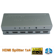HD 1080p 4 port HDMI Splitter 1X4 with power adapter HDMI 1.4 video audio switch Amplifier converter adapter support 3D 4K*2K