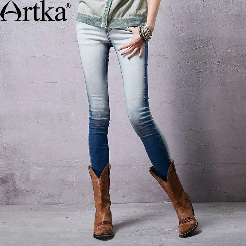 Artka Womens Spring New Gradient Color Low Waist Straight Whitewashed Soft Skin-Friendly Skinny Jeans KN14058CÎäåæäà è àêñåññóàðû<br><br>