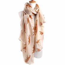 Newly Design Fashion Fox Pattern Scarf Print Long Scarves Flower Beach Wrap Ladies Stole Shawl Support Drop Shipping 72.83*35in
