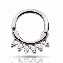 Septum clicker Nose Ring Hoop 1pc 316L Stainless Steel Septum Clicker Hinged Hexagonal Flower Nose Ring Ear Cartilage Gauges