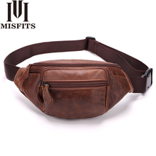 2018 Men Waist Packs Genuine Leather Waist Bag Male Travel Waist Pack Fanny Pack Belt Bag Phone Pouch Bags Small Leather Pouch(China)