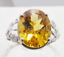 Citrine ring Natural real citrine Finger ring Free shipping 925 sterling silver Fine yellow crystal jewelry 2.4ct gem #16101213