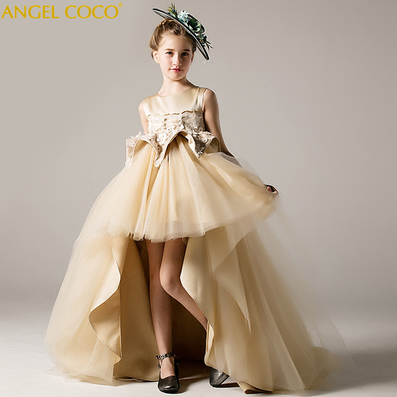 Carnival Easter Flower Girl Dress beige Sequined Tulle Hi-lo Wedding Party Dress 2018 Summer Princess Dresses Clothes Robe Fille