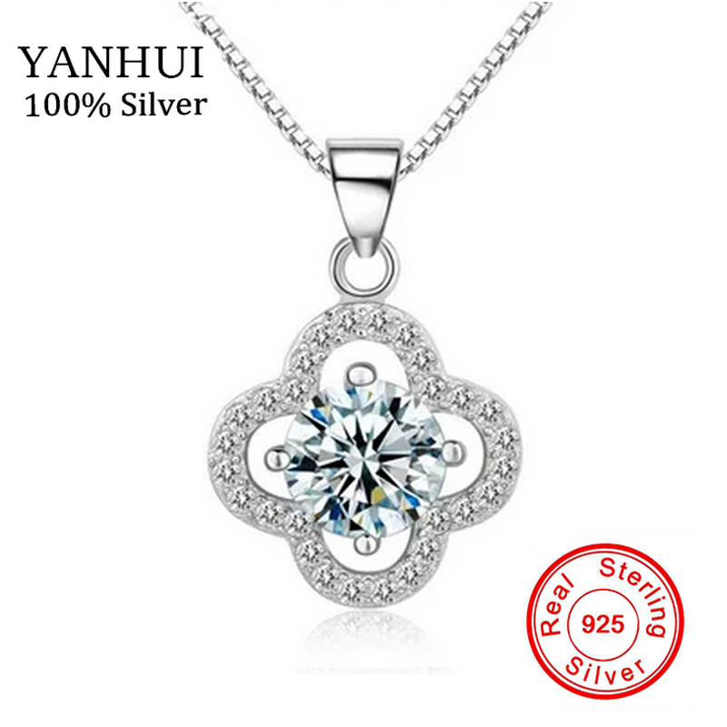 90% OFF!!! Genuine Real 925 Solid Silver Necklace 1 Carat SONA CZ Diamant Clover Pendant Necklace Women Wedding Jewelry NSYC001(China)