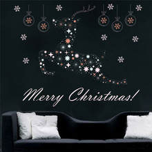% Merry Christmas Decoration Deer Snowflake Wall Sticker Decals Window Store Window Decoration New Year Decor Poster Mural(China)
