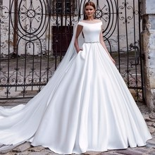 Alice Recommend  Vestidos De Noiva 2017 Cap Sleeve Bridal Gowns Sexy Vintage Wedding Dress A-Line Sleeveless good Satin fabric
