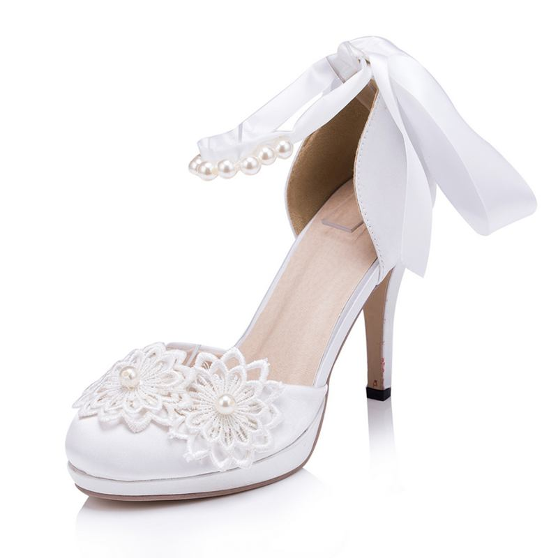 Handmade White/Ivory Lace Women Wedding Shoes High Heels Ankle Strap Women Party Shoes   EU33-41   611<br><br>Aliexpress
