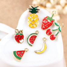 Mix Fruit Apple Watermelon Banana Strawberry Cherry Oil Drop Bracelet Charm Phone Chain Decoration Charms Little Alloy Charms