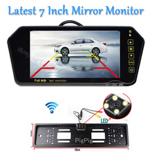Wireless 7inch LCD TFT Vehicle Mirror Monitor DVD/VCD/GPS/TV Touch button car Europe License Plate Frame Rearview Parking Camera