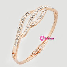 Fashion Hinged Bangles Gemetory Shaped Crystal Rhinestone Bangle & Bracelet for Women Jewelry