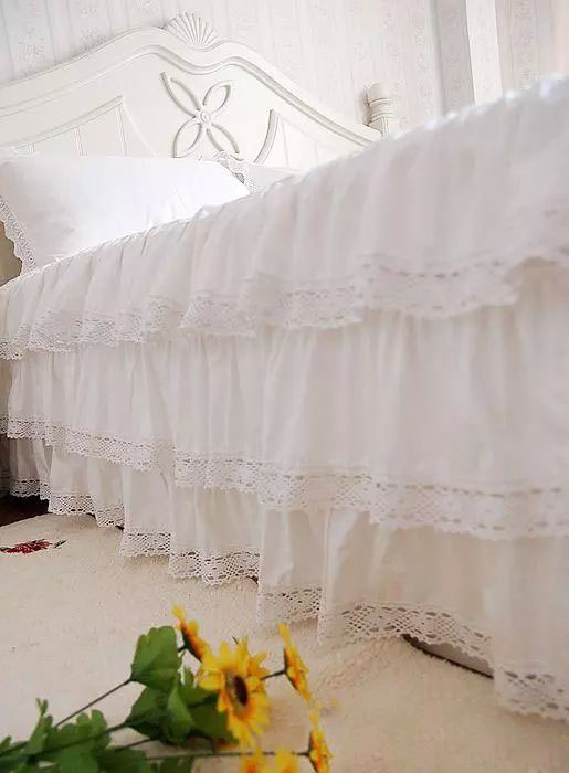 Luxury Three Layers Style, 100% Cotton, White Satin Lace Bed Skirt, Twin, Full, Queen, King 3