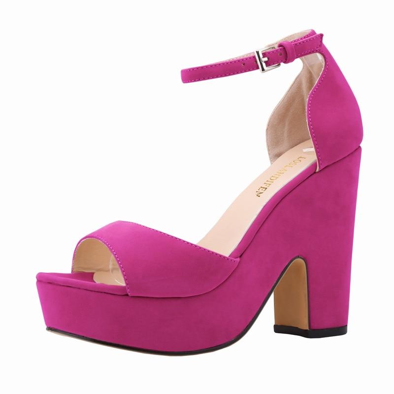 Sexy Peep Toe Square High Heels Party Office Shoes Suede Women Platform Pumps 9 Colors Ladies Work Sandals Shoes SMYNLK-A0120<br><br>Aliexpress