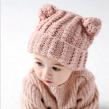 New Toddler Kids Girl Boy Baby Infant Winter Warm Crochet Knit Hat Beanie Cap Hats Beige Pink(China)