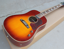 Factory Custom Tobacco Sunburst J45 Model 41'' Acoustic Guitar,Red Pickguard,Top Solid,Mahogany Neck,Offer Customized