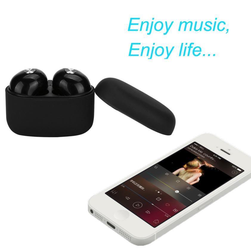 HL 2017 Mini True Wireless Bluetooth Twins Stereo In-Ear Headset Earphone Earbuds Black oct13<br>
