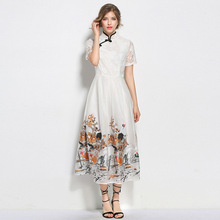 Vogue Autumn Tunic Dobby Dresses All Over Embroidered Rushed New Women China Style White Short Sleeve Stand Neck Lace Maxi Dress