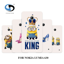 design Cell phone cases cover white hard cases for nokia lumia 630 MINIONS king Fashion phone Back Cover