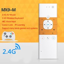 2.4Ghz Wireless Mini Rechargeable Keyboard Mx9-m One Way Voice Version With IR Learning Mode Air Mouse Remote Control For PC TV