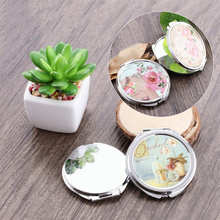 Portable Folding Mirror Compact Round Makeup Cosmetic Pocket Mirrors For Makeup Tools Random Pattern