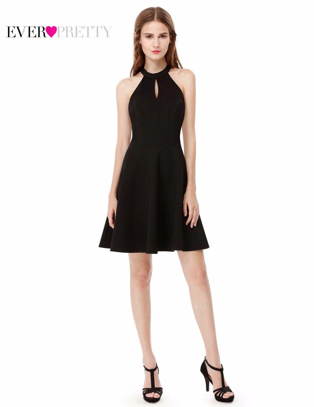 New Arrival 2018 Cocktail Dresses Cotton Empire Halter Mini Party Dresses Ever Pretty AS05587 Black Cocktail Dress