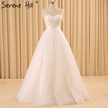 2017 White Strapless Simple Sexy Wedding Dresses Real Photo Sleeveless Pleat Tulle Bridal Gown Robe De Mariee