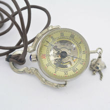 See Through SilverTone Crystal Ball Design Wind Up Mechanical Pocket Watch +Leather Chain Nice Gift Wholesale Price H047(China)