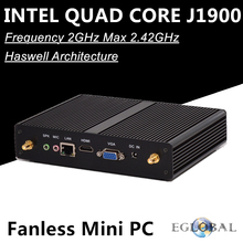 Eglobal Intel Quad Core Fanless Mini PC J1900 Max 2.42GHz Intel HD Graphics 1080P HTPC TV Box Windows Computer Linux Micro PC(China)