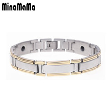 New Arrival Gold Color Stainless Steel Men's Bracelets Health Body Care Black Magnet Bracelets jewelry wholesaler(China)