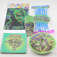 Creative Ninja Turtles Tablecloth Paper Plates Kids Birthday Straws Decoration Paper Glasses 12 Boy Event Party Set Supplies