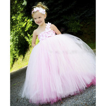 New Design Pink Princess Girls Dresses Wedding Double Layer Colors Pink Rose Girls Kids Tutu Dresses For Brithday Party(China)