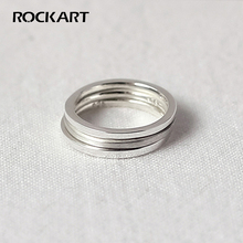 ROCKART Real 925 Sterling Silver 1.3MM Thin Square Lines Smooth Ring For Women Adjustable Fine Jewelry S925 Korean Designer
