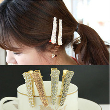 YouMap Shine Full Crystal Rhinestone Pin Hair Clip for Girls White Black Champagne Color Small Pearl Alligator Clips A3R1C