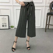 JL0109 2017 Summer Newest Style Leisure Pants Loose High Waist thin wide leg pants stripe Bow tie Bell Bottom Pant Women(China)