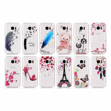 For Samsung Galaxy S7 edge Cover Soft Clear Pink Flowers Nice Lovely Fairy Bear Butterfly Feather Colorful Cases For Samsung S7(China)