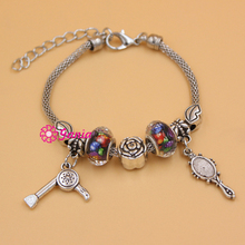 10PCS/Lot Wholesale Fashion Jewelry Charm Bracelets Lips Rose Bead Hair Stylist Mirror Hair Dryer Charm Bracelets for Women(China)