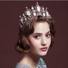 New Fashion Retro Oversize Baroque Royal Crown Headpiece with Red Rhinestone Bridal Baroque Hair Accessores