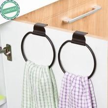1p Dark Brown Towel Ring Holder Rack Wrought Iron Vintage Rustic Cast Round Hanging Bathroom Kitchen Hand