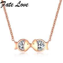 Fate Love Simple Lovely Kiss Fish Clavicle Necklace With Cubic Zirconia Pendant Unique Design Birthday Gift Accessories FL1115