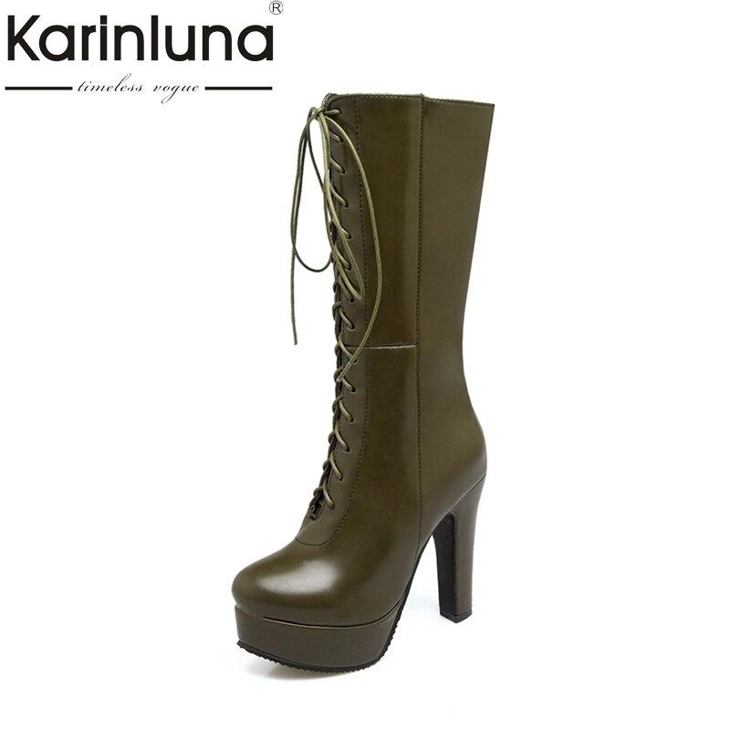 KARINLUNA Plus Size 33-50 Super High Heels Women Shoes Woman Fashion Platform Shoelace Black Party Winter mid-calf Boots<br>