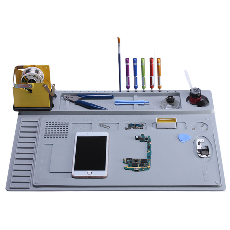 2 in 1 Heat Insulation Silicone Soldering Pad Desk Mat Maintenance Platform For BGA Soldering Repair Station<br>