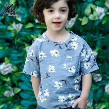 Boys Summer T Shirt Bobo Choses 2017 Little Flower Print Kids Casual Cotton Top Blue/Khaki T-shirt 9M 12M 18M 2T 3T XDD-X8803
