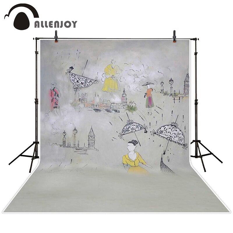 Allenjoy photographic background Videos painted umbrella rain backdrops princess kids studio Excluding bracket 200cm*300cm<br><br>Aliexpress